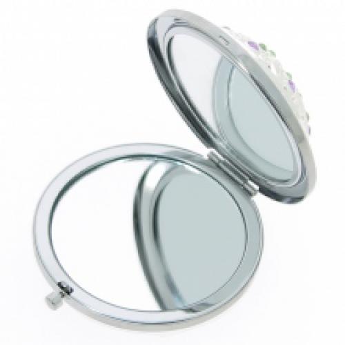 Miroir de sac rond enjoliv de strass avec double face for Miroir double face